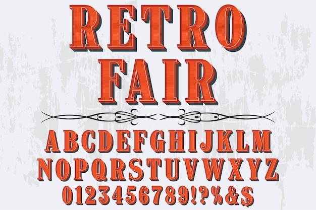 Salon de la conception des étiquettes alphabet rétro