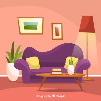 Salon confortable et moderne avec un design plat