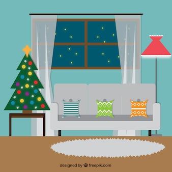 Salon avec décoration de noël