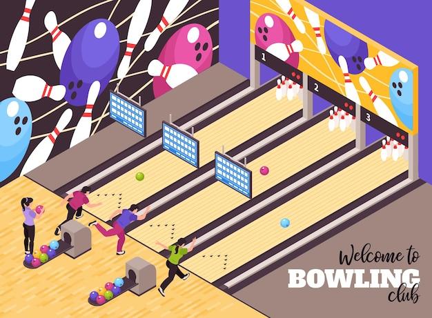 Salon du centre de fête du bowling accueillant les clients affiche publicitaire isométrique avec des membres du club jouant au jeu
