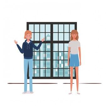 Salon des femmes avec vue sur la ville par la fenêtre