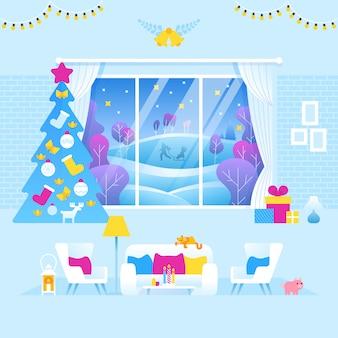 Salon intérieur décoré pour noël et nouvel an