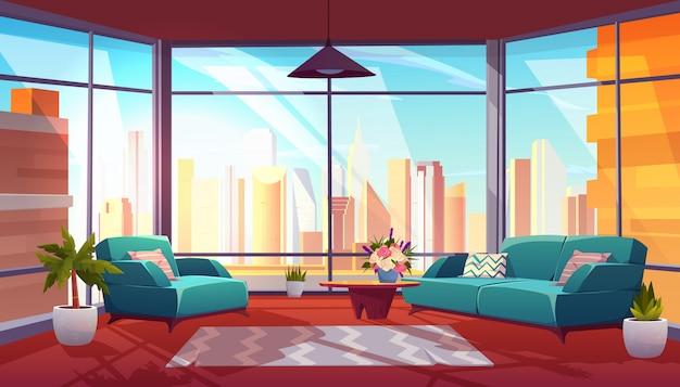 Salon avec intérieur de fenêtre panoramique