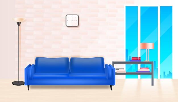 Salon intérieur maison moderne appartement illustration vectorielle horizontale