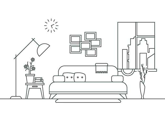 Salon avec intérieur de meubles