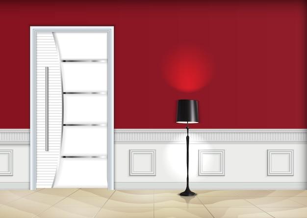 Salon intérieur avec porte fermée