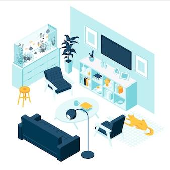 Salon isométrique avec mobilier
