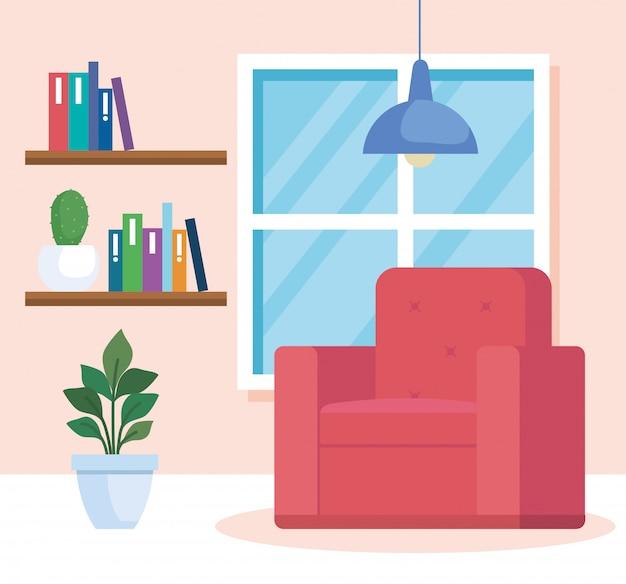 Salon maison lieu icône illustration design