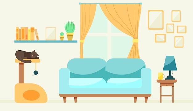 Salon avec une maison pour chat