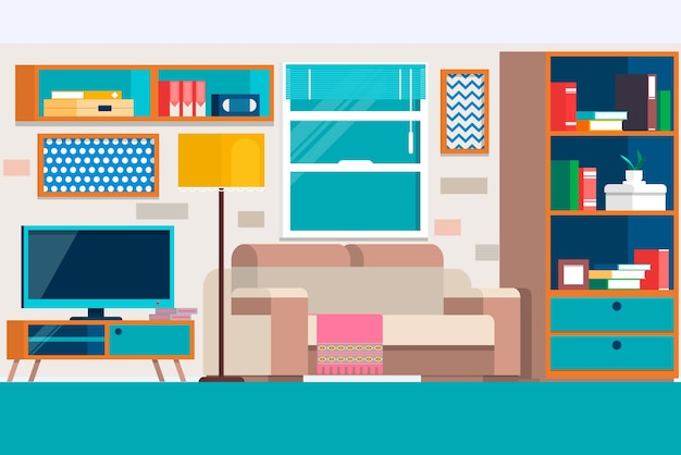 Salon avec des meubles. cool design d'intérieur de salon graphique avec canapé meubles, chaises, bibliothèque, table, lampes.