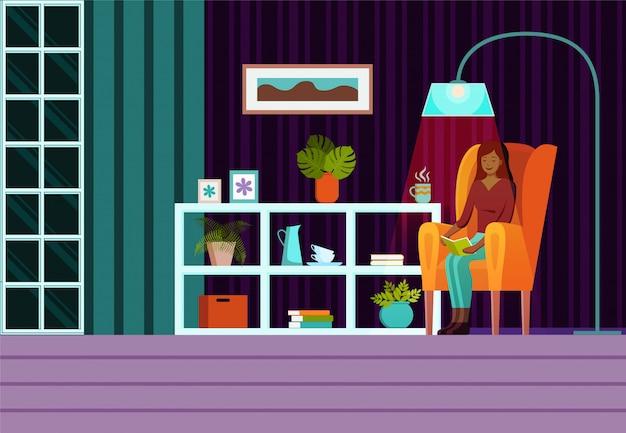 Salon avec meubles, fenêtre, fauteuil avec femme assise et rideaux. vecteur de dessin animé plat