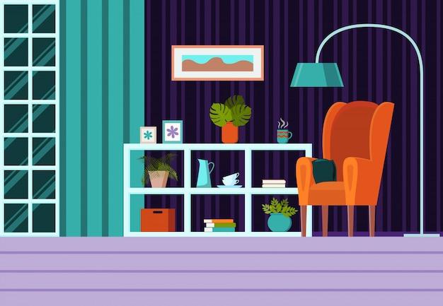 Salon avec meubles, fenêtre, rideaux. vecteur de dessin animé plat