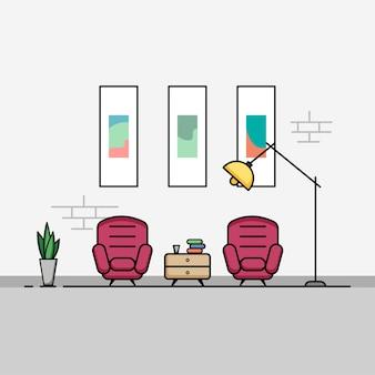 Salon avec mobilier design plat