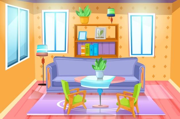 Salon avec mobilier. intérieur confortable avec canapé dans le salon. plat