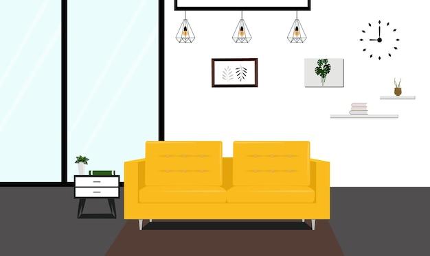 Salon moderne avec canapé jaune