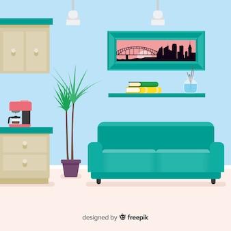 Salon moderne avec un design plat