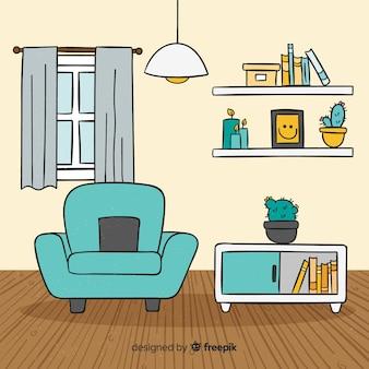 Salon moderne dessiné à la main