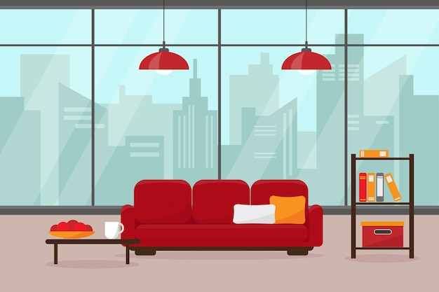 Salon moderne avec grande fenêtre et mobilier.