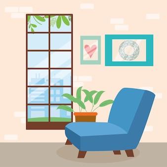 Salon avec scène de canapé bleu
