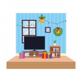 Salon avec scène de décoration de noël
