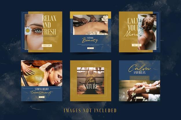 Salon et spa collections de publications sur les médias sociaux instagram