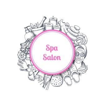 Salon spa dessiné à la main avec des éléments dans le cadre