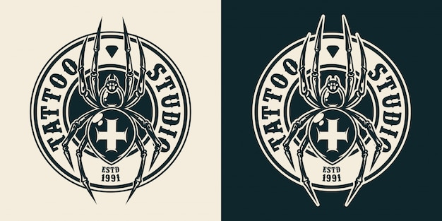 Salon de tatouage vintage logo rond