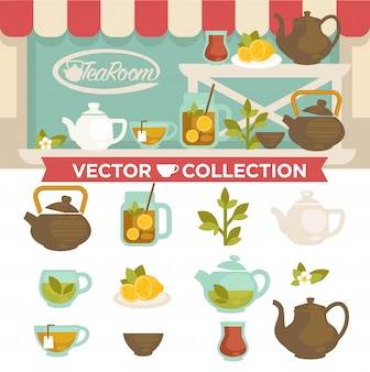 Salon de thé boit la collection de vecteur sur vitrine.