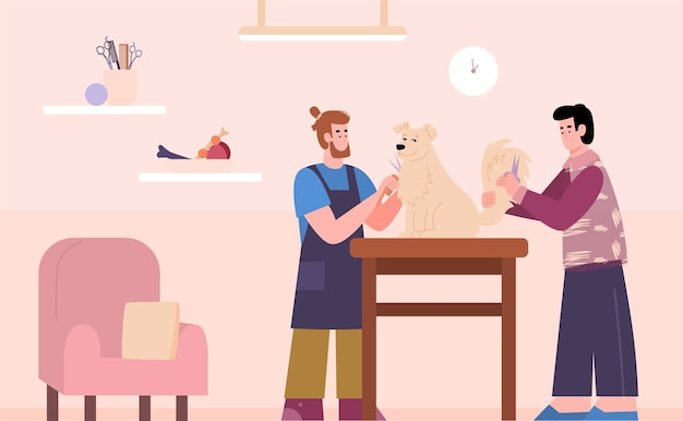 Salon de toilettage barbiers faisant coiffure pour illustration vectorielle de chien dessin animé