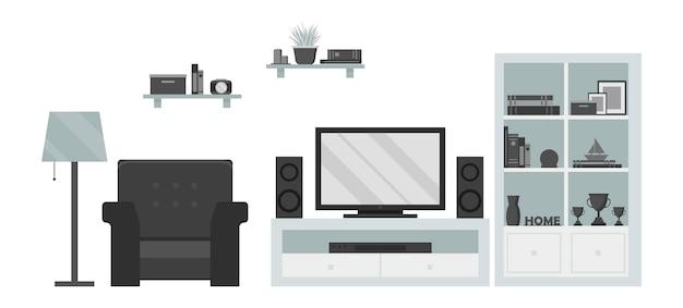 Salon tv moderne: fauteuil, étagère, lampe, tv, dvd et système de son