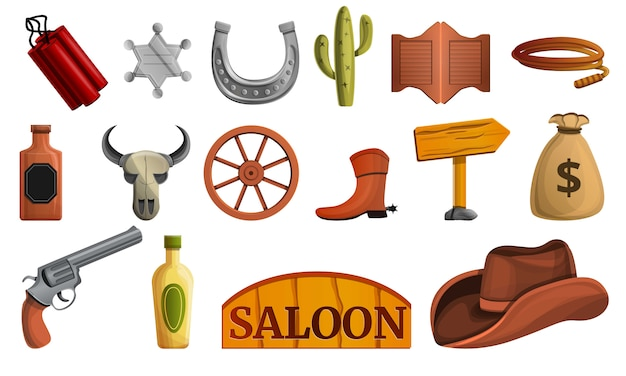 Saloon icon set, style de bande dessinée