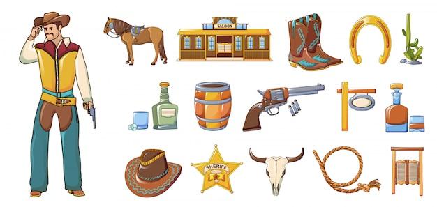 Saloon icons set, style de bande dessinée