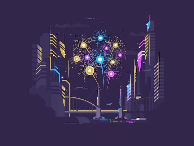 Salut de célébration coloré sur la ville tard dans la nuit.