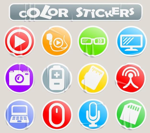 Salut les icônes de web de vecteur de technologie sur l'autocollant de papier pour votre conception
