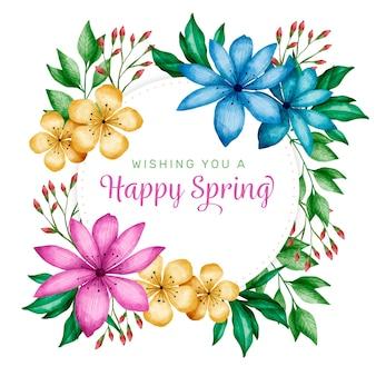 Salutation de cadre floral printemps aquarelle