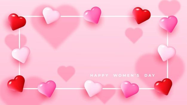 Salutation de coeurs pour la journée des femmes heureux
