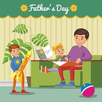 Salutation concept de fête des pères heureux