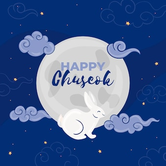 Salutation de festival de chuseok dessiné à la main