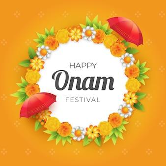 Salutation de festival onam réaliste