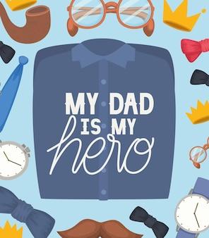 Salutation de fête des pères avec lettrage. mon père est mon héros