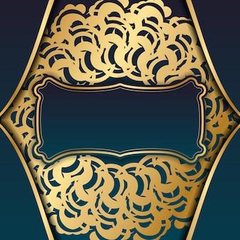 Salutation gradient green gradient flyer avec la typographie de mandala d'ornement d'or préparée.