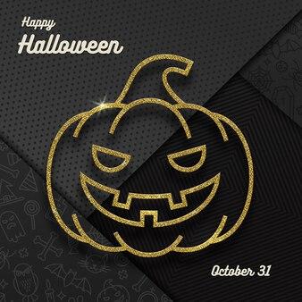 Salutation d'halloween avec citrouille jack o lantern et sur fond noir.