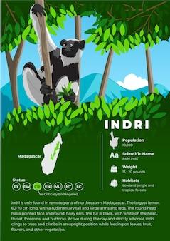 Salutation de l'indépendance indonésiennesérie d'infographie sur les animaux - indri lemur