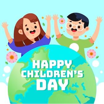 Salutation de la journée des enfants du monde plat
