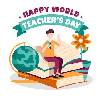 Salutation de la journée des enseignants avec illustration
