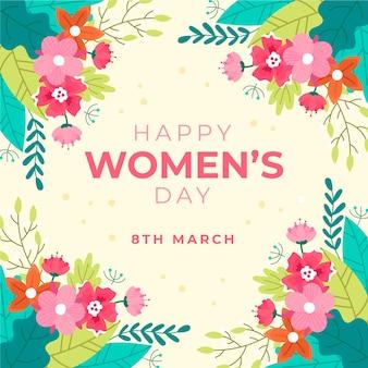 Salutation de la journée des femmes florales colorées