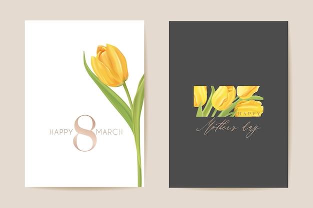Salutation de la journée internationale des femmes. illustration de carte florale de vecteur. arrière-plan du modèle de fleurs de tulipes réalistes, concept de printemps, affiche du 8 mars, flyer design de luxe, invitation à une fête, bannière publicitaire de vente