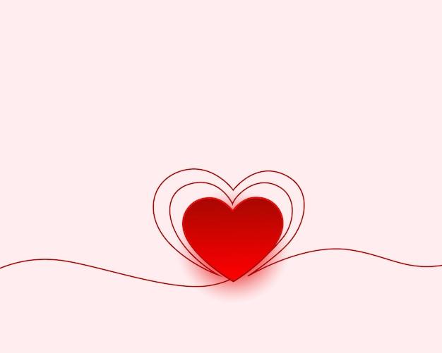 Salutation minimale de joyeux saint valentin avec un design de coeur