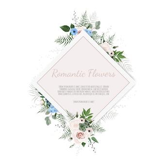 Salutation, modèle d'invitation de mariage carte postale. cadre élégant avec rose et anémone