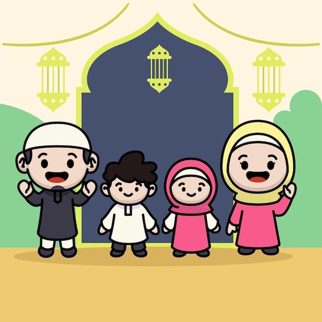 Salutation musulmane de famille mignonne pour le ramadhan kareem